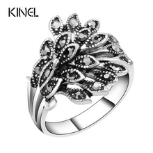 Hot Wholesale Vintage Jewelry Wedding Rings For Women Color Silver Mosaic Black Crystal Anillo Gift Accessories(China)