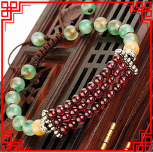 New Original green stone chalcedony bracelet,handmade Ethnic nature stones bracelet, DIY fashion luxury vintage bracelet ,(China)