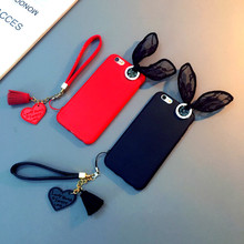 New For Iphone X 5 5S SE 6 6s 7 8 plus Case Cover Soft Silicone Rubber Thin Protector Rabbit Ears Lace Tassel Heart Pendan Strap