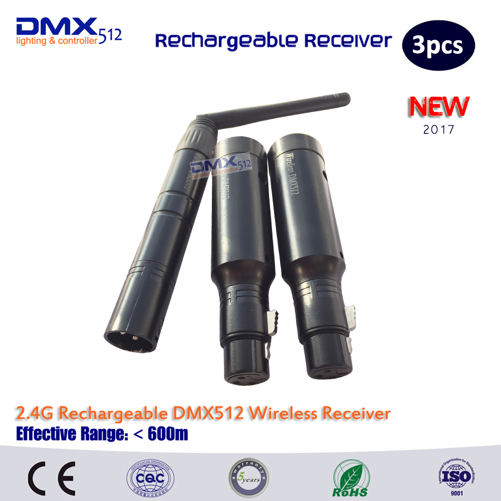 DHL Free shipping 3pcs/lot including 2pcs wireless dmx receiver of female plug and 1pc wireless dmx transmitter of male plug <br>