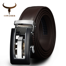 COWATHER 2017 Genuine Leather belts for men High quality brown black color metal automatic buckle Strap male Jeans cowboy CZ045(China)