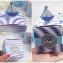 50pcs Sailboat Candy Boxes Baby Shower Gift Boxes Paper Box Birthday Party Decorations Kids Favor Boxes Wedding Party Supplies