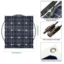 Sunpower flexible solar panel 50w; monocrystalline semi flexible solar panel 50w; solar cell 22% charging efficiency(China)