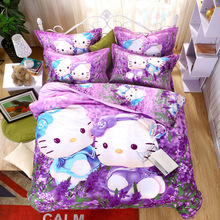 Cartoon Purple Hello Kitty Bedding Set Despicable Me Bed Linen Bedding Duvet Cover Set Bed Sheet Pillowcase for Kids Queen Size