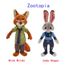 Zootopia Police Rabbit Judy Hopps and Fox Nick Wilde Movie Kids Stuffed Animal Plush Toy Cartoon Doll Baby Gift