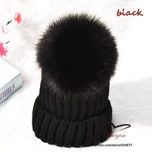 Big Genuine Real Fox Fur Pompom Winter Hat Cap Warm Knitted Bobble Mink Fur Pom Poms Beanie Hat Women Ski Hat With Pom pon Ball