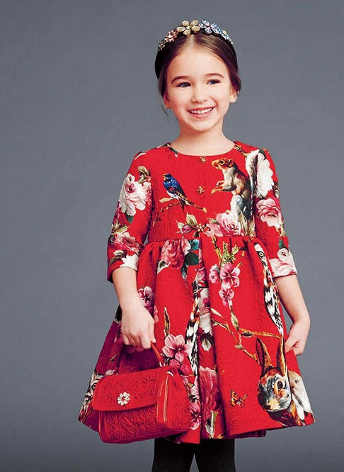 High Fashion New Brand Girl Print Dresses Diamond Button Red Princess Christmas kidsdress Animal Pattern<br>