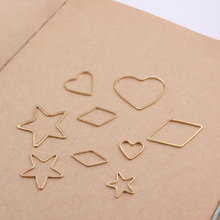 50pcs/lot Pure Copper Gold/Rhodium Plated Popular Geometric Figures Earrings Pendants Accessories For DIY Handmade And Finding(China)