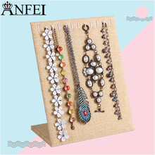 Anfei Linen Material Necklace Display pendant bracelet Display stand jewelry jewelry display shelf storage shelves A266(China)