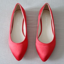 Women shoes flats stain and silks women flats pointed toe flat heel shoes for women wedding flats white and red color plus size