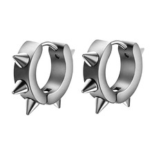 2017 Latest Trendy Style Men Women Stainless Steel Hoop Spike Circle Huggie  Earrings Punk Cool BK Hot Popular