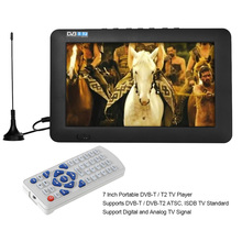 7 Inch Portable DVB-T / T2 TV Player 800 * 400 TFT Support Digital and Analog TV w/ 1200 mAh Battery w/ AV / USB / TF Card 3.5mm