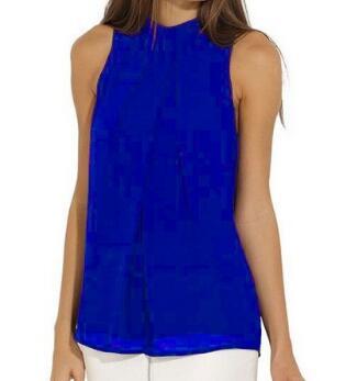 Women Chiffon Back Hollow Blouses Fashion 2017 New Beach Summer Sleeveless Tops Elegant Pleated Blusas Femininos Plus Size M0173 6