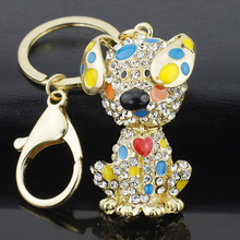 Dalaful Enamel Dalmatian Dog Red Heart Crystal HandBag Pendant Keyrings Keychains For Car key chains holder women K149