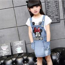 Jeans for girls summer dress girls dresses summer 2016 children `s dress tutu Free Shipping denim overalls for girls