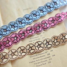 Blue purple and beige color laciness accessories clothes lace accessories net embroidery lace 2cm x 1 meter