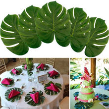 12PCS Tropical Hawaiian Big Green Polyester Leaves Luau Beach Party Table Decors Cake Decorating Supplies(China)