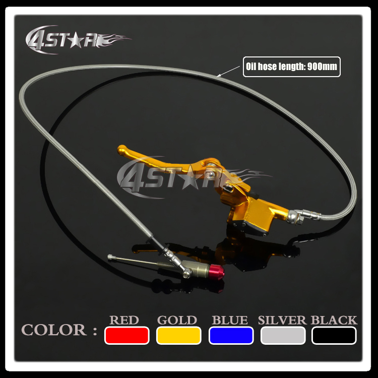 Pro Parts Gold 900mm Hose Motorcycle Hydraulic Clutch Lever Master Cylinder Fit ATV 50cc-125cc Dirt Pit Bike Horizontal Engine<br>