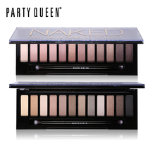 Party Queen 12 Color Naked Eyeshadow Palette Nude Makeup Earth Color High Pigment Glitter Smoky Eye Shadow Set With Mirror+Brush