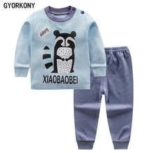 2018 Kids Thermal Underwear Solid Thick Cotton Children's Warm Suit Clothes Baby Boys Girls Long Johns Pajamas Sets A-BN1020-3P(China)