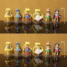 Sailor Moon 6pcs/set Sailor V Action Figures 1/12 scale painted figure Mizuno Ami Hino Rei PVC figure Toys Brinquedos Anime(China)