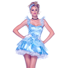 Women Girls Blue Cinderella Dress Fairy Tale Costume Sexy Adult Princess Snow White Cosplay Costume Halloween Fancy Dress 8863(China)