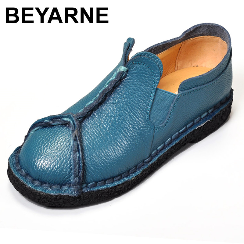 BEYARNE 2018  Flats Woman Genuine Leather Flat Shoes Fashion Hand-sewn Women Loafers Female Casual Shoes Women Flats<br>