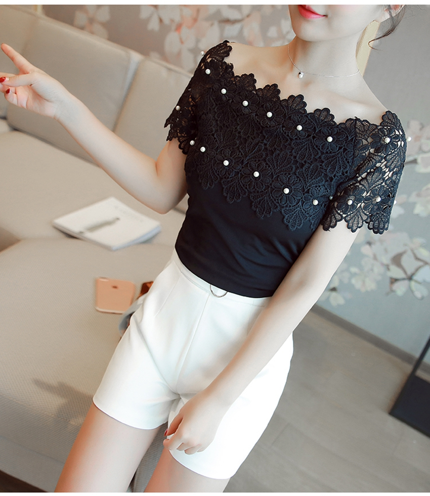 Women Lace Patchwork Blouse Shirt Casual Off Shoulder Top Sexy Short Sleeve White Blouse Ladies Summer Hollow Elegant Blouses 8
