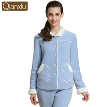 Winter Brand Quality Homewear Ladies Thicken Warm Pajama sets Women Luxury Lamp Sleepwear Suit Female Cardigan Coat +Pants(China)
