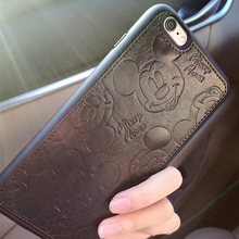 PU Leather Cartoon Mickey Cases For iPhone 7 6 6S Plus Soft White Black Mouse Hard Shell Cover for iPhone 7 7Plus