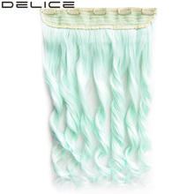 [delice] 60cm/24 inch Women's Long Curly Pure Color Mint Blue Clip In Synthetic 5 Clips Hair Extensions
