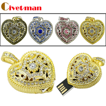 Wholesale Crystal Usb2.0 jewelry usb flash drive 4GB 8GB 16GB 32GB bronze heart necklace pendrive pen drive external storage(China)