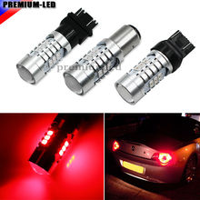 (2) Brilliant Red Strobe Flashing W21/5W 7443 7444 T20 1157 BA15D 3157 T25 SRCK LED Replacement Bulbs For Car Brake/Tail Lights