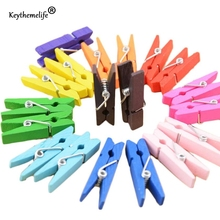 Keythemelife Mixed color 50PCS Mini Wooden Craft Clips Peg Pin Clothespin Decor for Photo Paper Clothes 25mm 35mm 45mm 2C