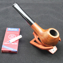 Classic Natural Solid Red Wood Straight Smoking Pipe Round RoseWood Weed Tobacco Wooden 10pc 9mm Filter+Pouch+Holder DB120