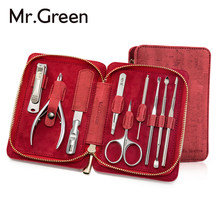 MR.GREEN 9 IN1 Manicure Set Professional Stainless steel nail clippers scissors grooming kit art Cuticle Utility manicure tools(China)