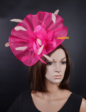 NEW Unique design.Fuchsia hot pink ivory Large feather fascinator sinamay fascinator formal hat kentucky derby hat wedding hat.