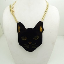 70N Black Panther Gold Chain Pendants Necklaces Acrylic Necklace