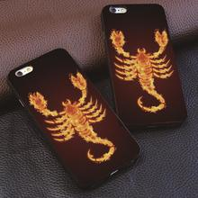 Red Flame Scorpion design For iphone 4 4s 5 5s 6 6s 7 plus for Samsung s3 s4 s5 s6 s7 Edge luxury Hard plastic phone case(China)