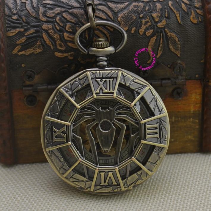new retro vintage classic roman number bronze spiderman mechanical pocket watch men cool spider fob watches short waist chain<br><br>Aliexpress