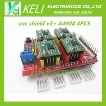 Free shipping! New cnc shield v3 engraving machine / 3D Printer / + 4pcs A4988 driver expansion board for Arduino