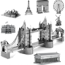 BOHS Alloy Metal Miniature Scale Model Eiffel  Leaning London Tower Bridge 3d Puzzle World's Great Architecture Building Toys