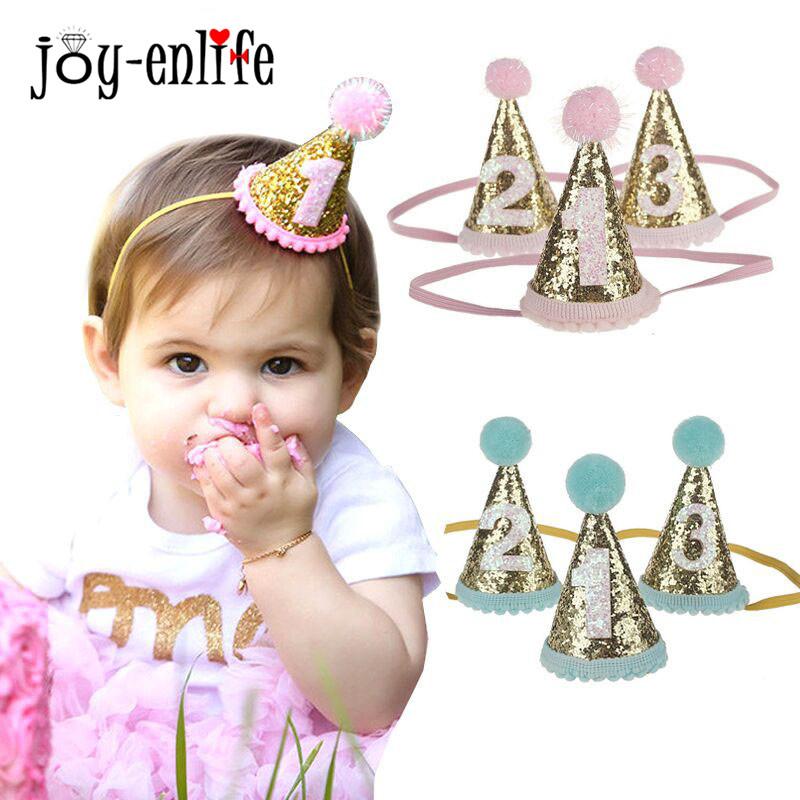 JOY ENLIFE 1pcs Shiny Pink Blue 1 2 3 Birthday Hat Baby Shower Headdress Kids Children