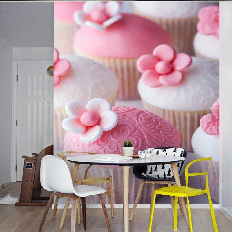 Custom 3d mural Cute pink flower Chocolate cake bedroom restaurant lobby mural custom 3d stereo living room wallpaper<br>