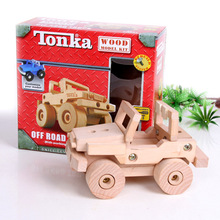 Wooden toy baby gift tonka wood car plane model kit EZBUILD system customize free shipping 1pc(China)