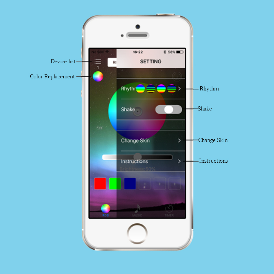 RGB Bluetooth Remote Led Controller For Led Strip 12V Controller Music RGB Controller DC 5-24V Led Controller Music Wireless     (6)