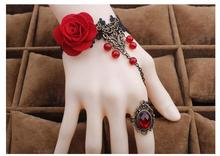 2016 DIY New Jewelry Sets For Women Party Accessories Lace Flower Vintage Bracelet and ring set Connected by Chain for girl gift(China)