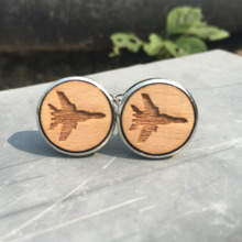 Jets Laser Cut Wood Cufflinks Aircraft Wedding Accessory Groom Present Military Wooden Cufflink Jet Fighter Cuff Links X 5 Pairs