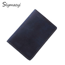 Slymaoyi Men Passport Genuine Leather Passport Holder Travel Wallet Card Wallet Credit Card Holder Porte Carte Business Male(China)