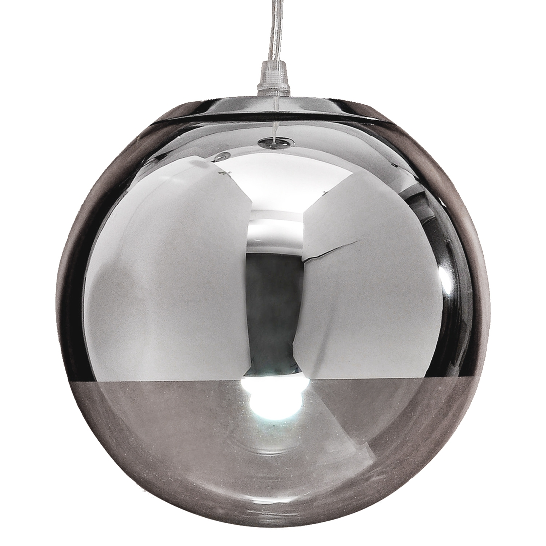 NFLC-Pendant Chandelier Ceiling Globe Lamp Light Bulb Metal Body Chrome<br>